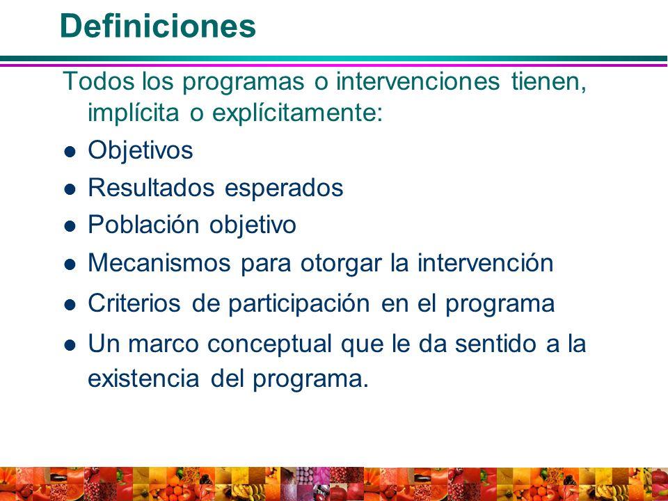 Definiciones Todos los programas o intervenciones tienen, implícita o explícitamente: Objetivos. Resultados esperados.