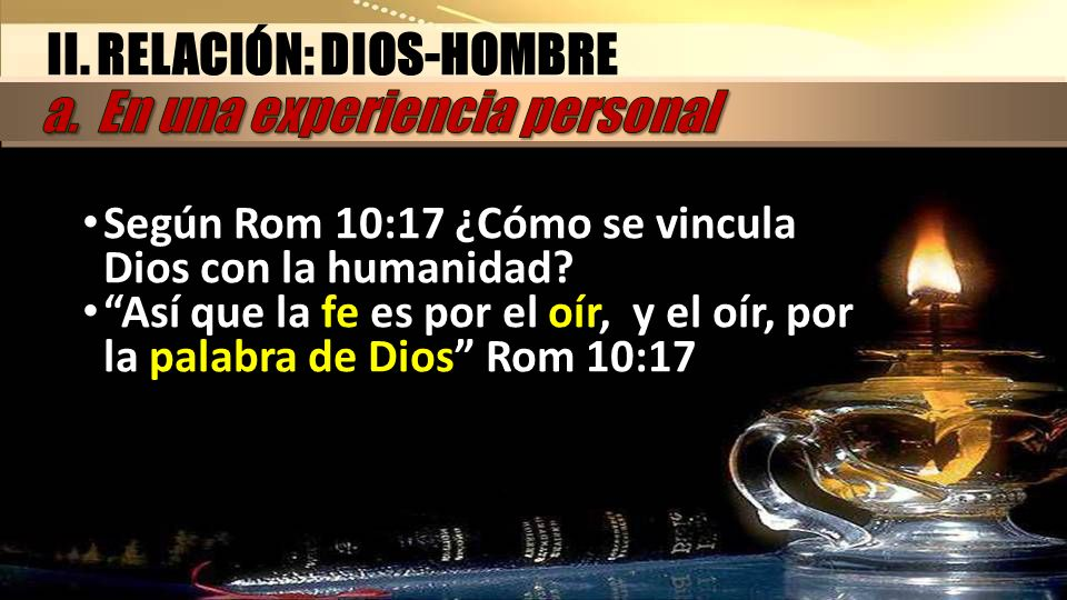 II. RELACIÓN: DIOS-HOMBRE a. En una experiencia personal