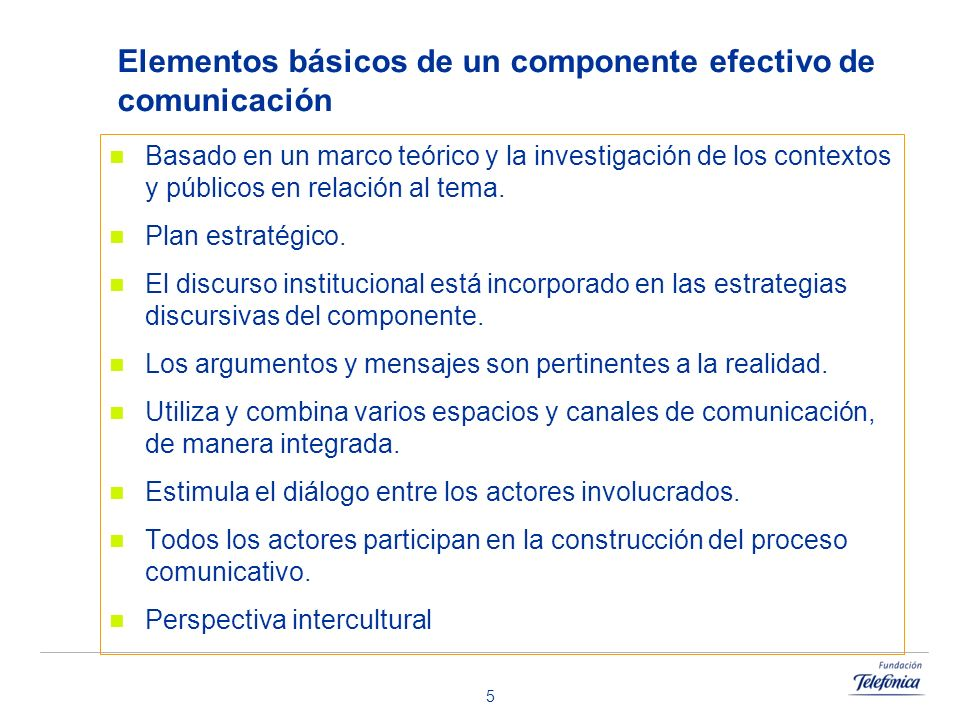 Elementos básicos de un componente efectivo de comunicación