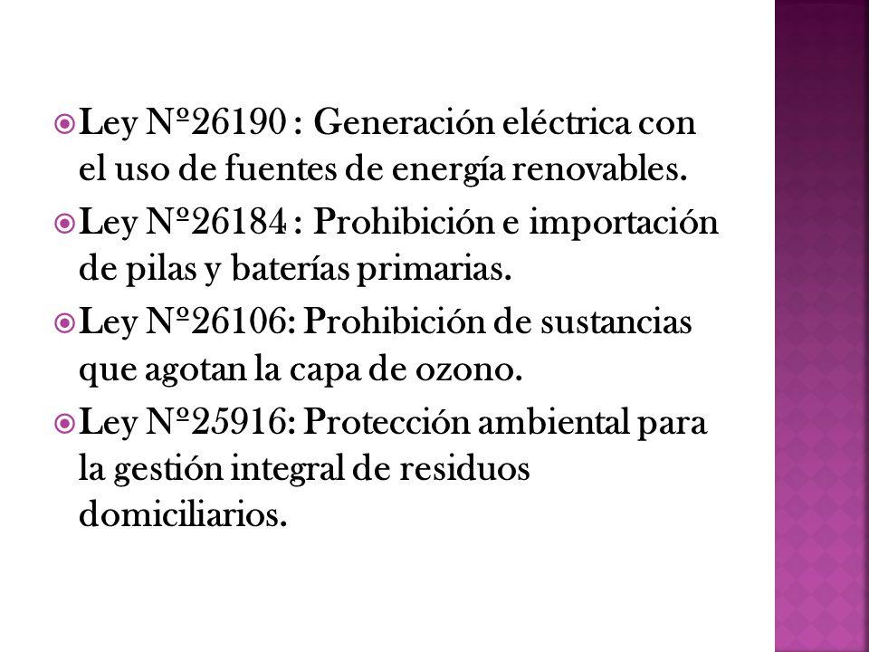 Ley Nº26190 : Generación eléctrica con el uso de fuentes de energía renovables.
