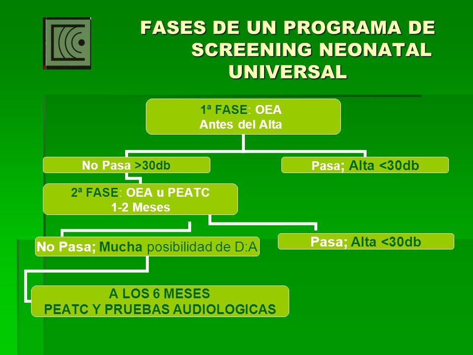 FASES DE UN PROGRAMA DE SCREENING NEONATAL UNIVERSAL