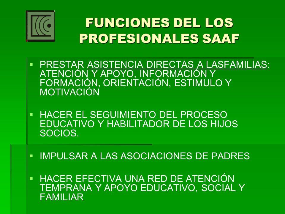 FUNCIONES DEL LOS PROFESIONALES SAAF