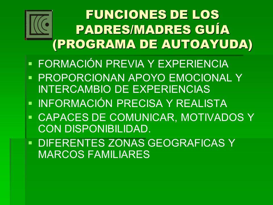 FUNCIONES DE LOS PADRES/MADRES GUÍA (PROGRAMA DE AUTOAYUDA)