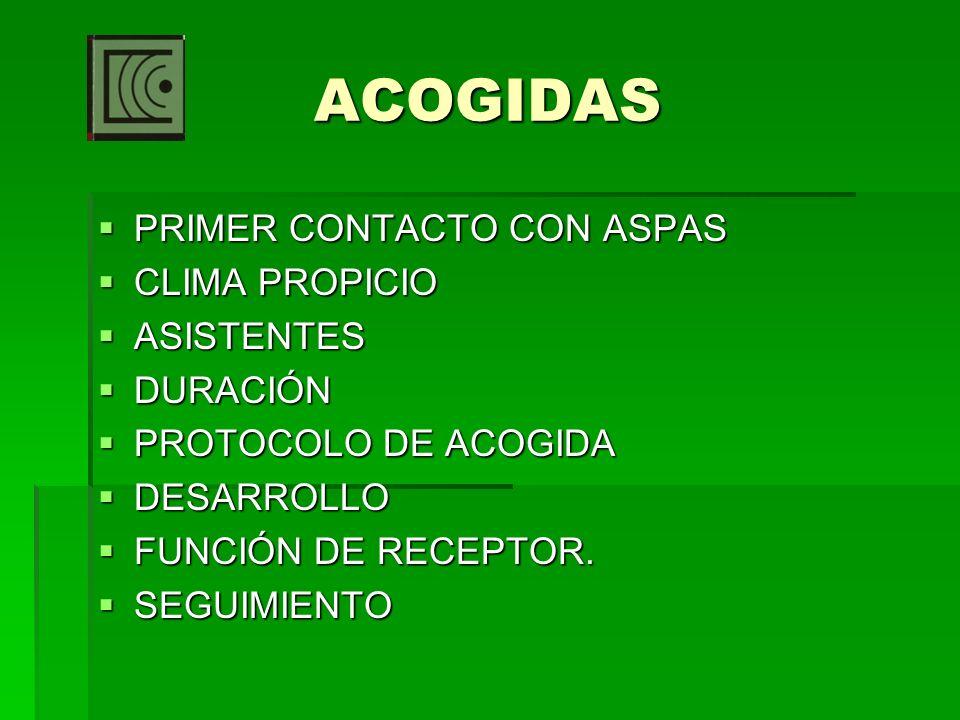 ACOGIDAS PRIMER CONTACTO CON ASPAS CLIMA PROPICIO ASISTENTES DURACIÓN