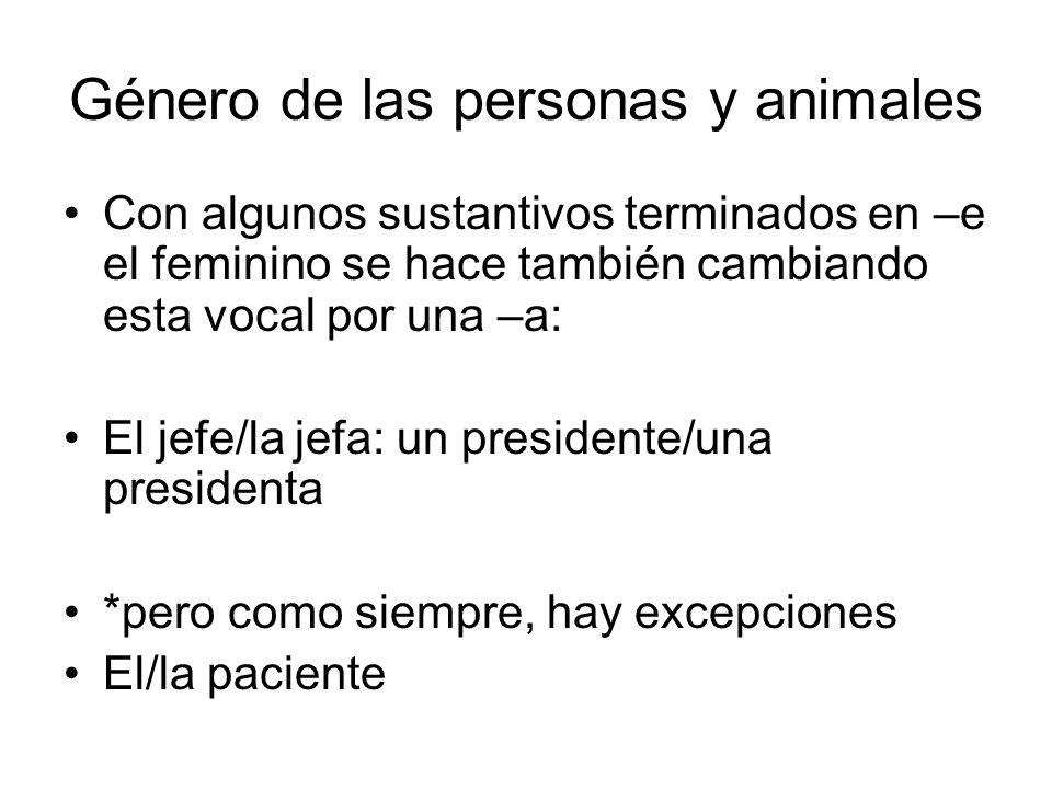 Género de las personas y animales