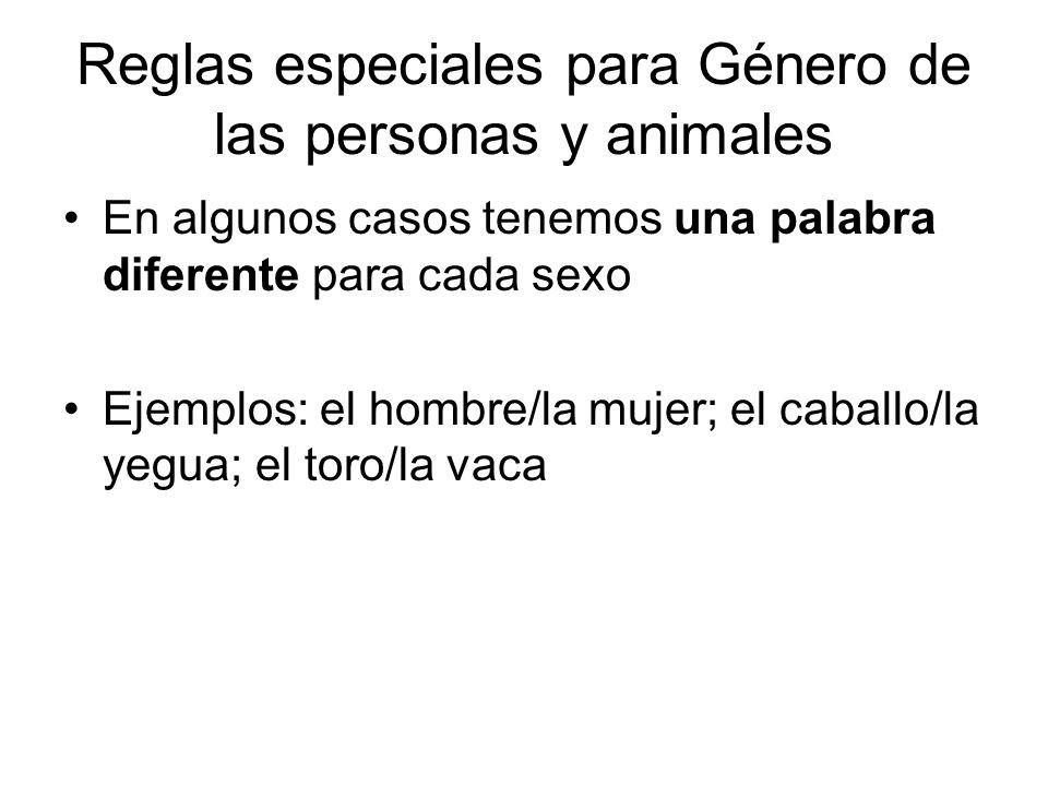 Reglas especiales para Género de las personas y animales
