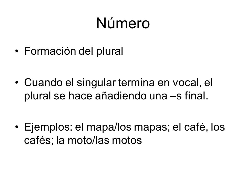 Número Formación del plural