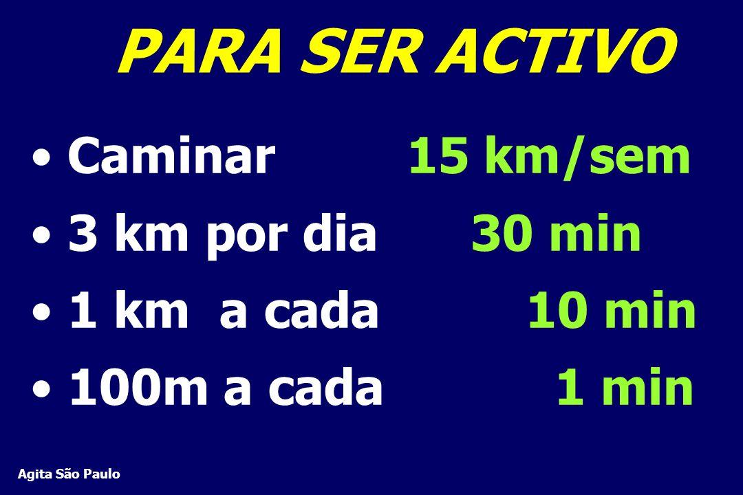 PARA SER ACTIVO Caminar 15 km/sem 3 km por dia 30 min