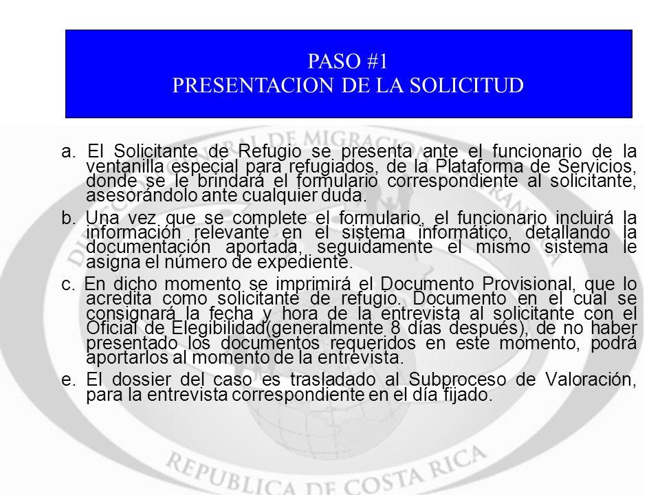 PRESENTACION DE LA SOLICITUD