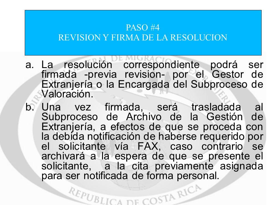 REVISION Y FIRMA DE LA RESOLUCION