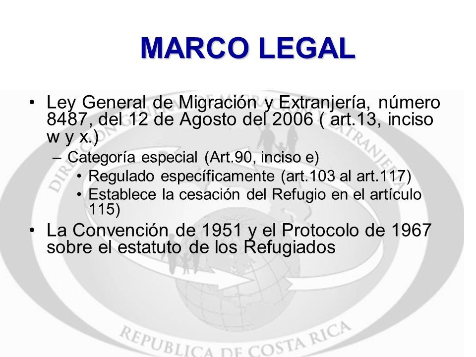 MARCO LEGALLey General de Migración y Extranjería, número 8487, del 12 de Agosto del 2006 ( art.13, inciso w y x.)