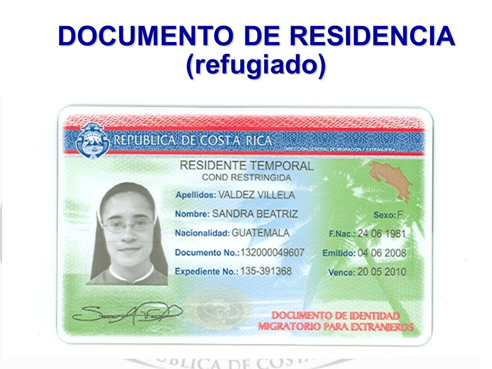 DOCUMENTO DE RESIDENCIA (refugiado)