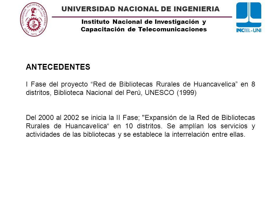 ANTECEDENTESI Fase del proyecto Red de Bibliotecas Rurales de Huancavelica en 8 distritos, Biblioteca Nacional del Perú, UNESCO (1999)