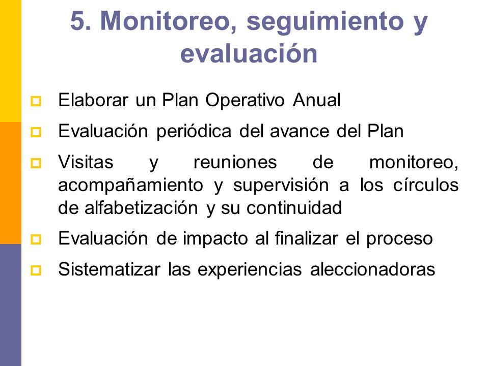 5. Monitoreo, seguimiento y evaluación