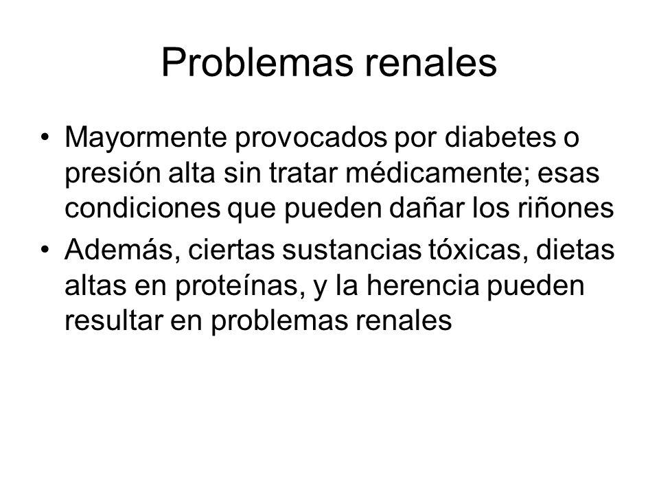 Problemas renales Mayormente provocados por diabetes o presión alta sin tratar médicamente; esas condiciones que pueden dañar los riñones.