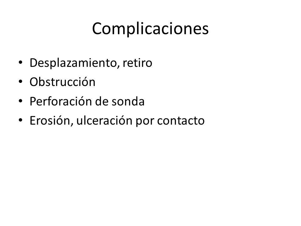 Complicaciones Desplazamiento, retiro Obstrucción Perforación de sonda