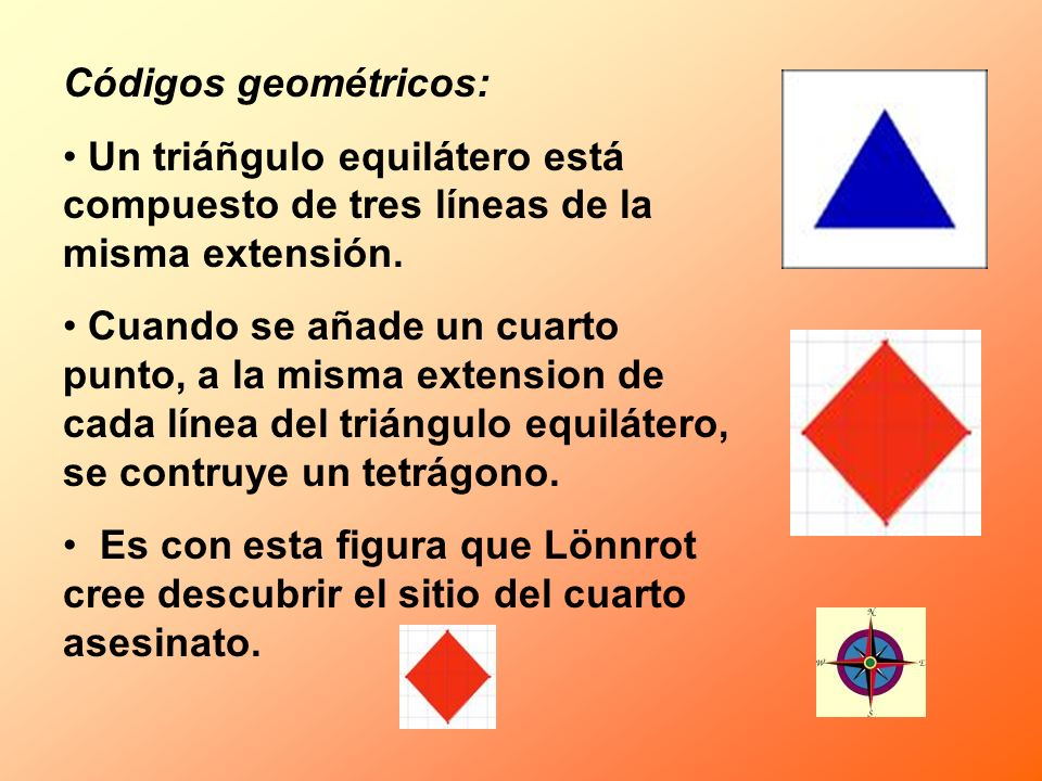 Códigos geométricos: Un triáñgulo equilátero está compuesto de tres líneas de la misma extensión.