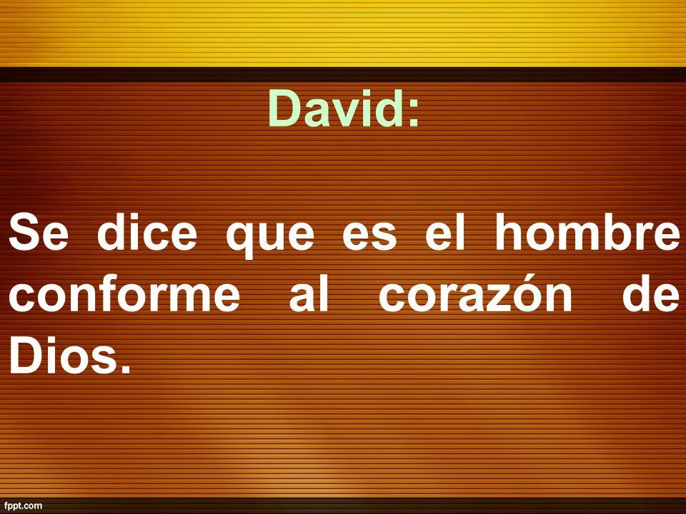 David: Se dice que es el hombre conforme al corazón de Dios.
