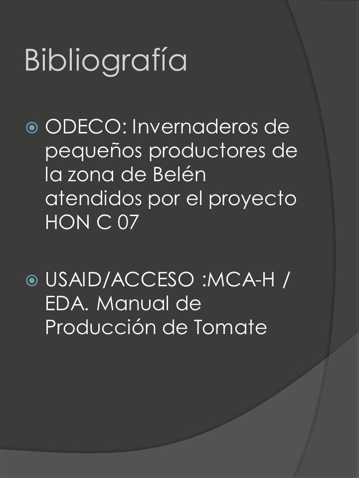 Bibliografía ODECO: Invernaderos de pequeños productores de la zona de Belén atendidos por el proyecto HON C 07.