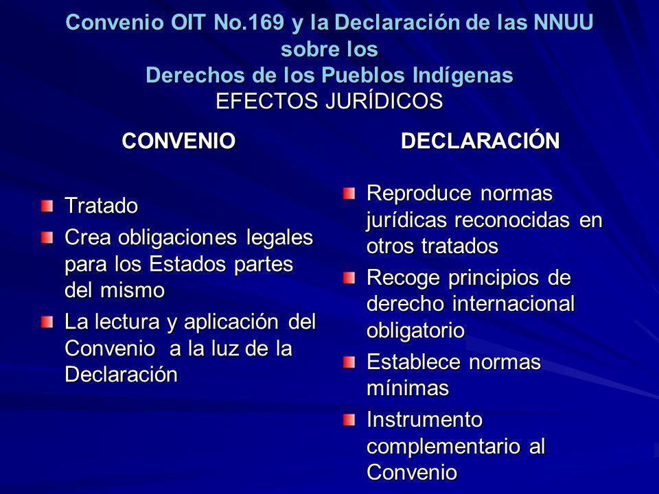 Convenio OIT No.169 y la Declaración de las NNUU sobre los Derechos de los Pueblos Indígenas EFECTOS JURÍDICOS