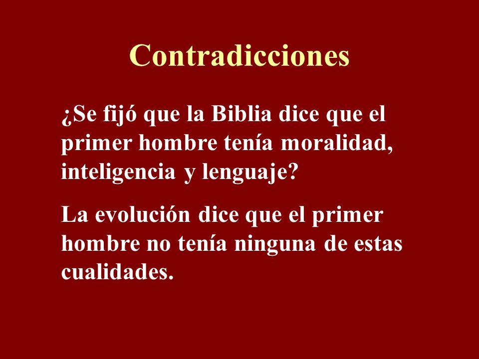 Contradicciones ¿Se fijó que la Biblia dice que el primer hombre tenía moralidad, inteligencia y lenguaje