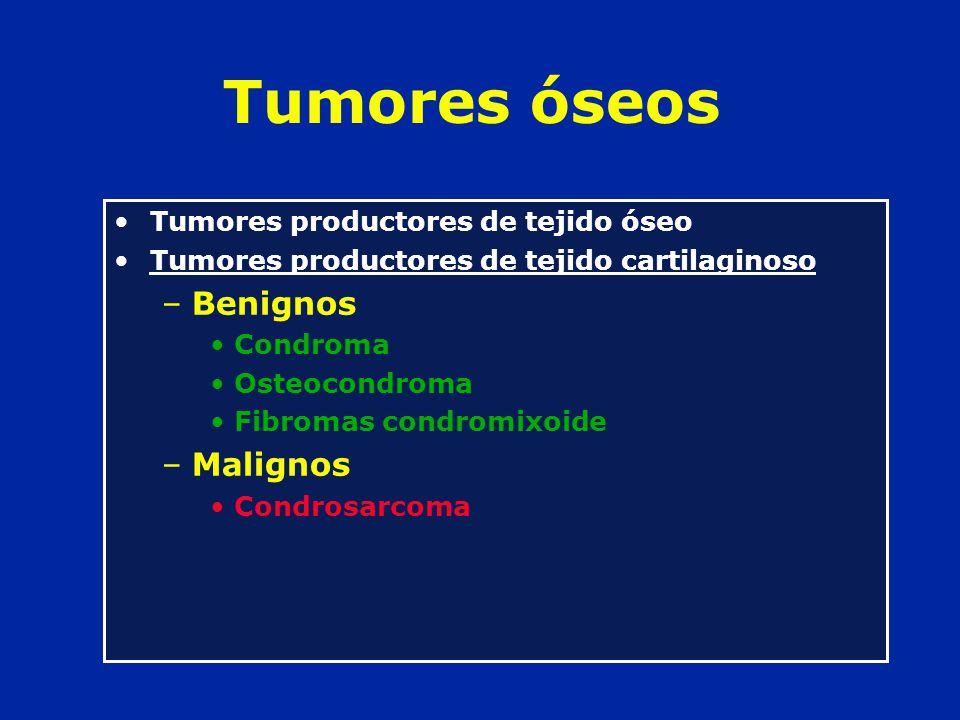 Tumores óseos Benignos Malignos Tumores productores de tejido óseo