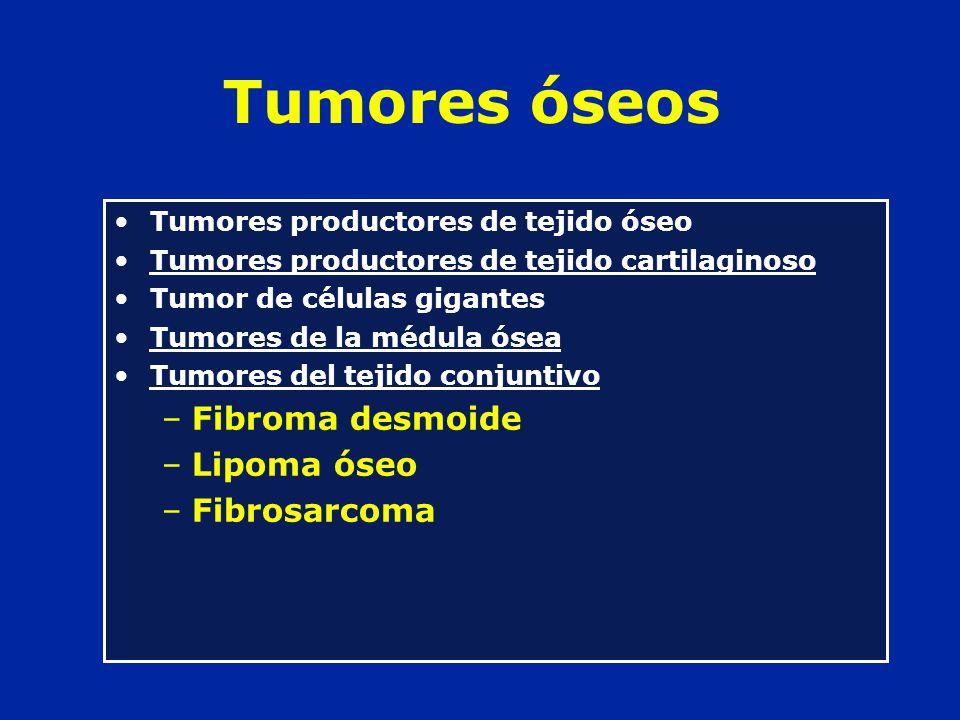 Tumores óseos Fibroma desmoide Lipoma óseo Fibrosarcoma