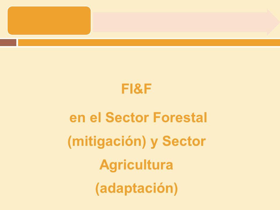 en el Sector Forestal (mitigación) y Sector Agricultura (adaptación)