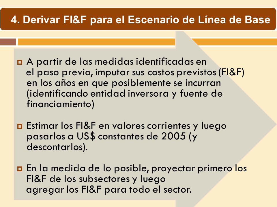 4. Derivar FI&F para el Escenario de Línea de Base