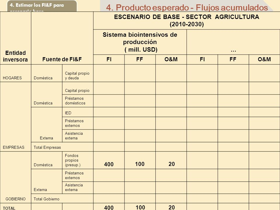 4. Producto esperado - Flujos acumulados
