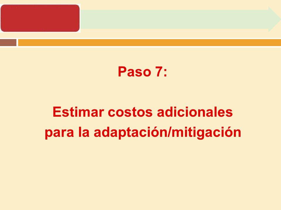 Estimar costos adicionales para la adaptación/mitigación