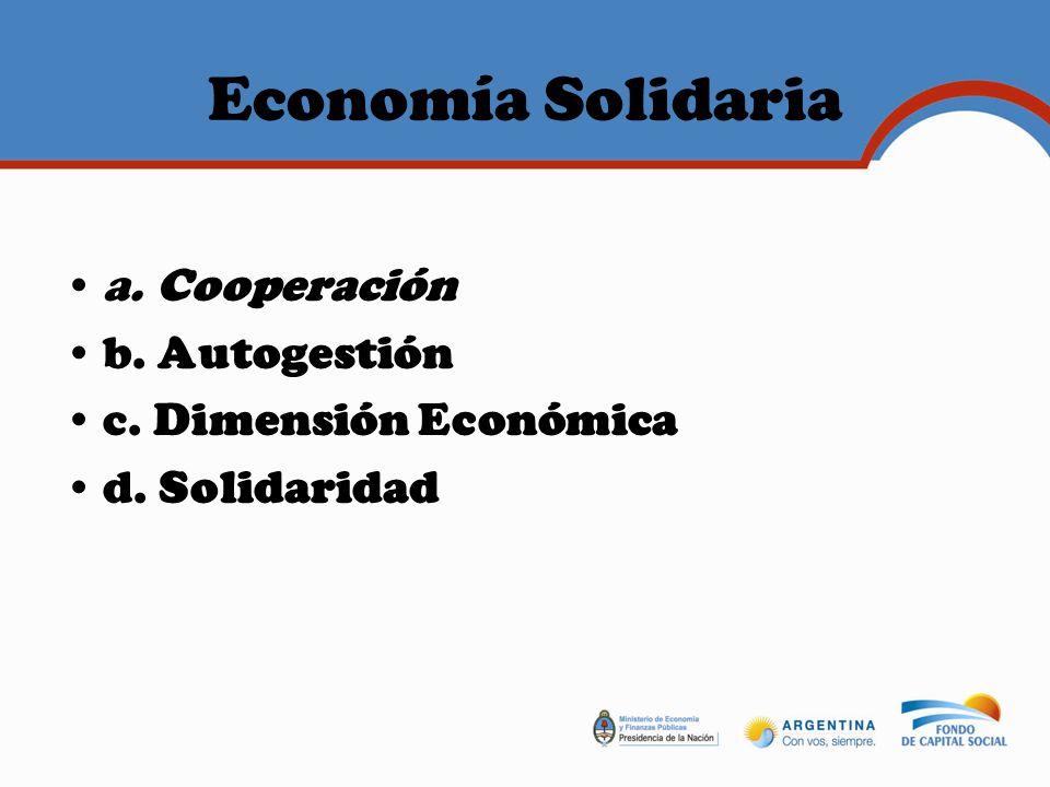 Economía Solidaria a. Cooperación b. Autogestión
