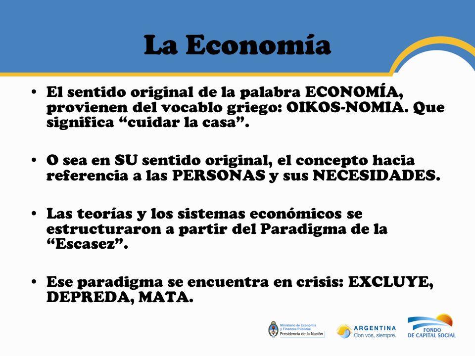 La Economía El sentido original de la palabra ECONOMÍA, provienen del vocablo griego: OIKOS-NOMIA. Que significa cuidar la casa .