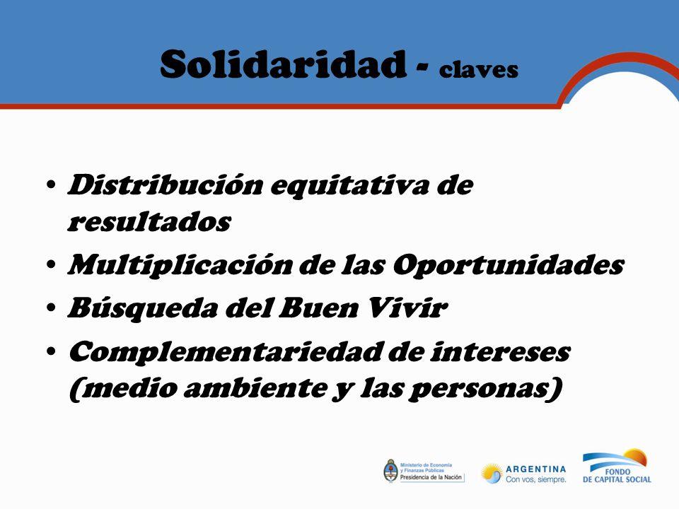Solidaridad - claves Distribución equitativa de resultados