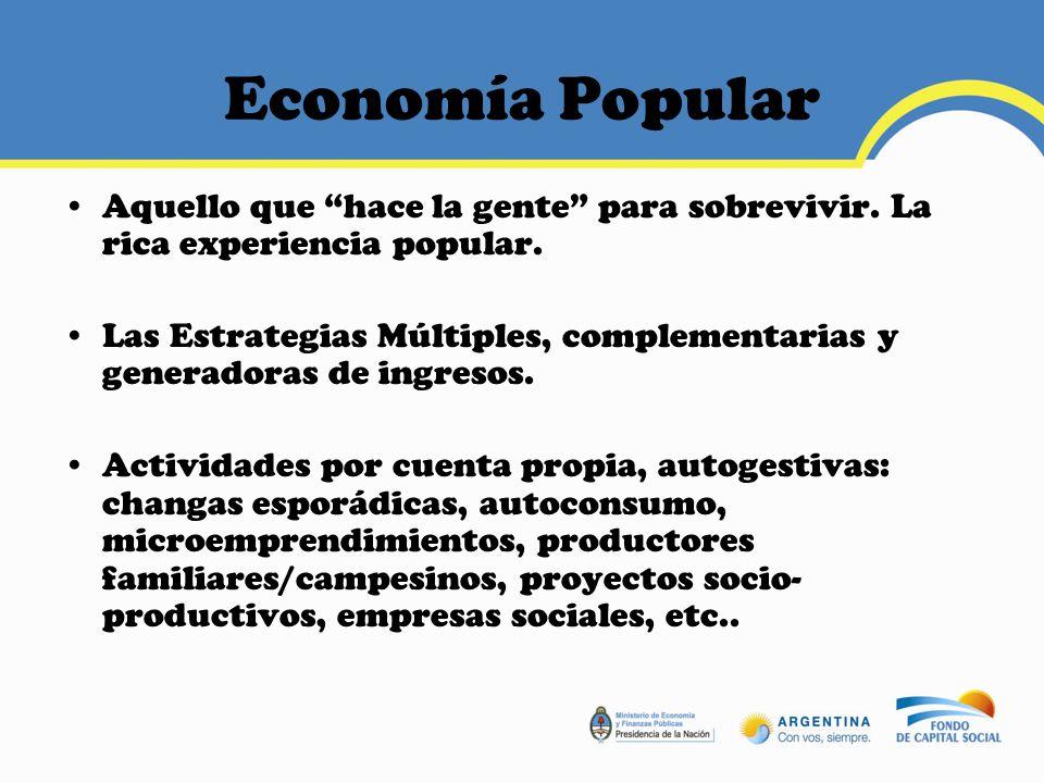 Economía Popular Aquello que hace la gente para sobrevivir. La rica experiencia popular.