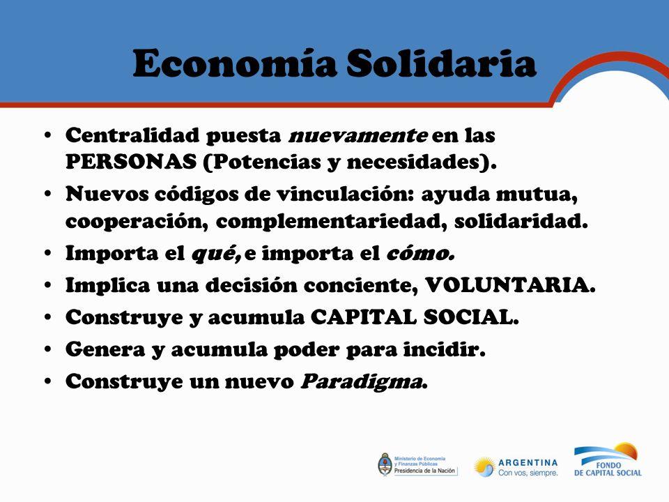 Economía Solidaria Centralidad puesta nuevamente en las PERSONAS (Potencias y necesidades).