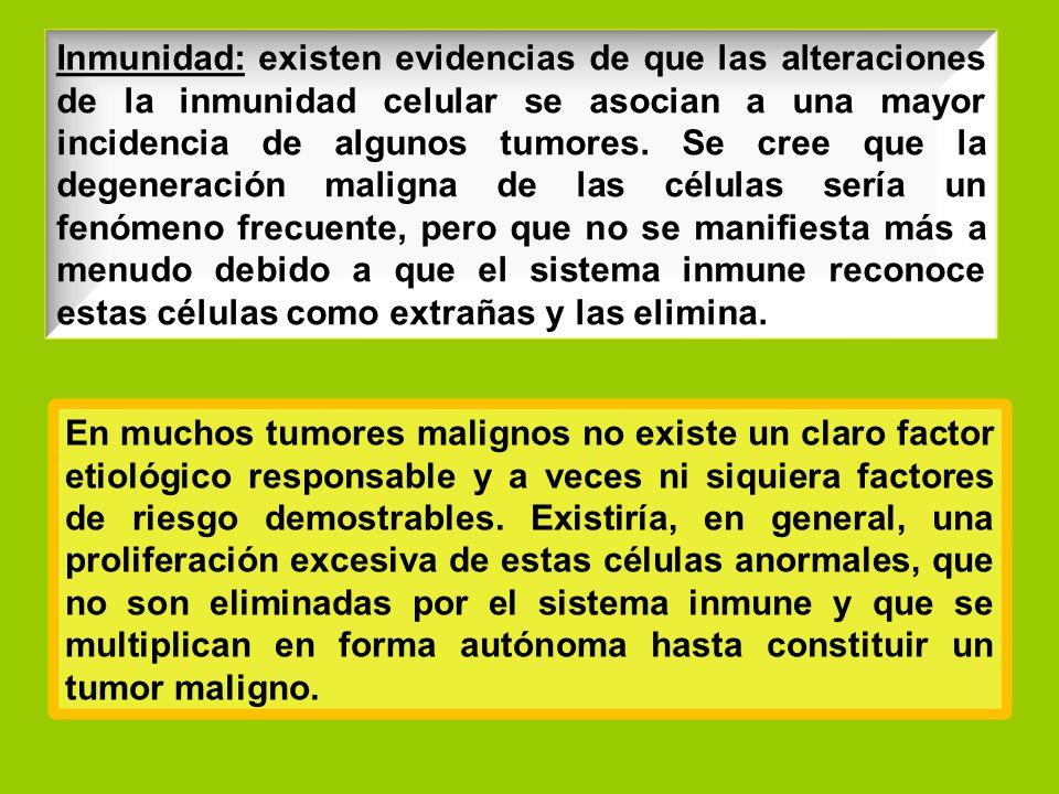 Inmunidad: existen evidencias de que las alteraciones de la inmunidad celular se asocian a una mayor incidencia de algunos tumores. Se cree que la degeneración maligna de las células sería un fenómeno frecuente, pero que no se manifiesta más a menudo debido a que el sistema inmune reconoce estas células como extrañas y las elimina.