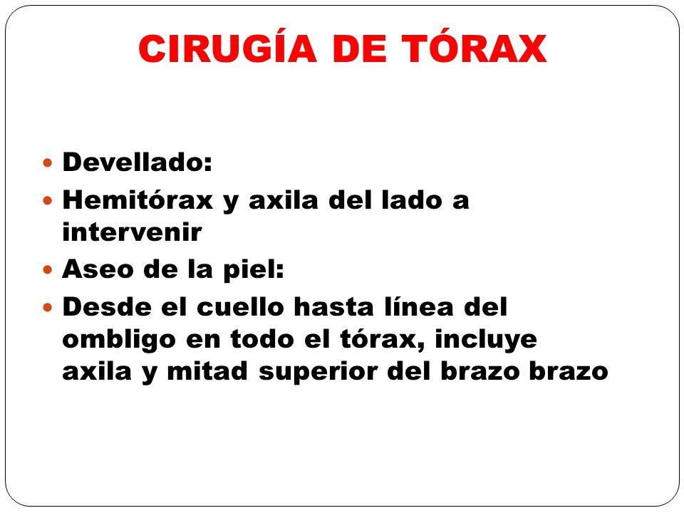 CIRUGÍA DE TÓRAX Devellado: Hemitórax y axila del lado a intervenir