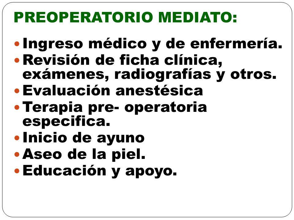PREOPERATORIO MEDIATO: