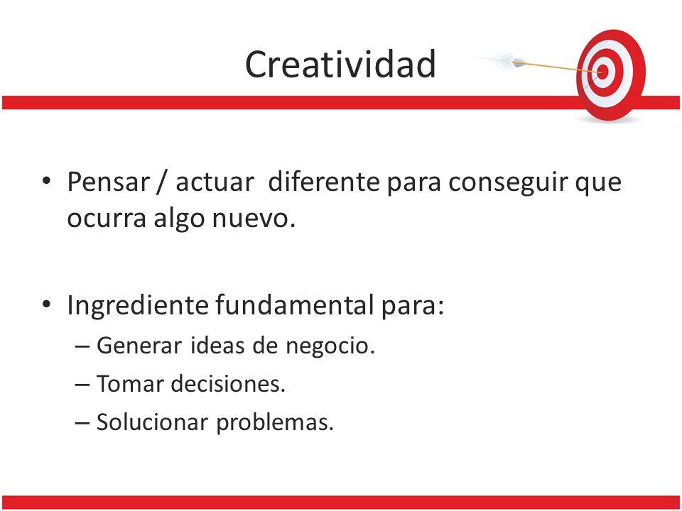 Creatividad Pensar / actuar diferente para conseguir que ocurra algo nuevo. Ingrediente fundamental para: