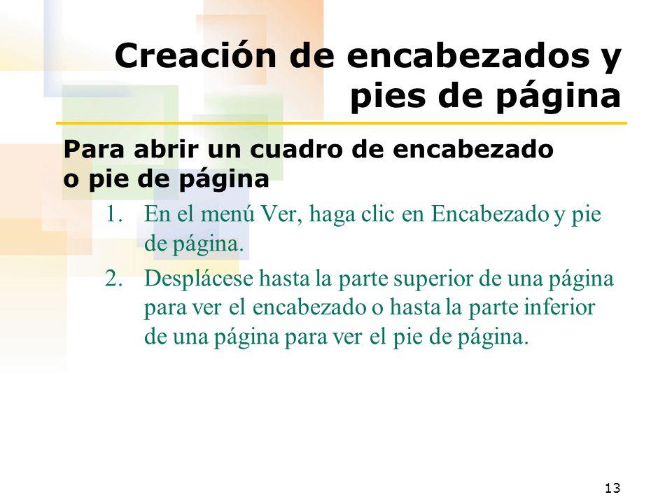 Creación de encabezados y pies de página