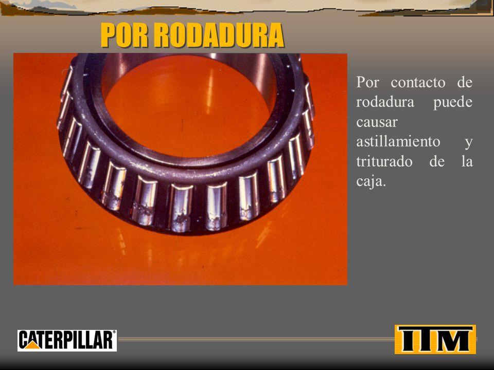POR RODADURA Por contacto de rodadura puede causar astillamiento y triturado de la caja.