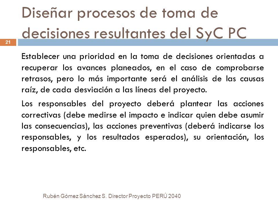 Diseñar procesos de toma de decisiones resultantes del SyC PC