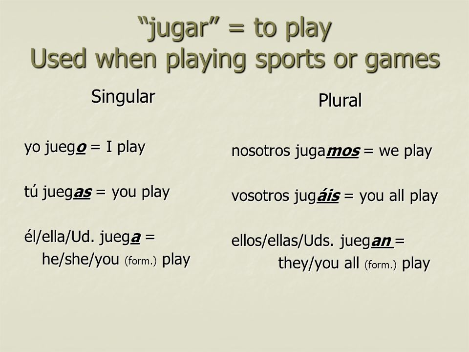 jugar = to play Used when playing sports or games