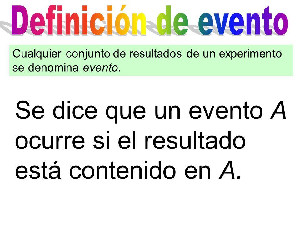 Se dice que un evento A ocurre si el resultado está contenido en A.