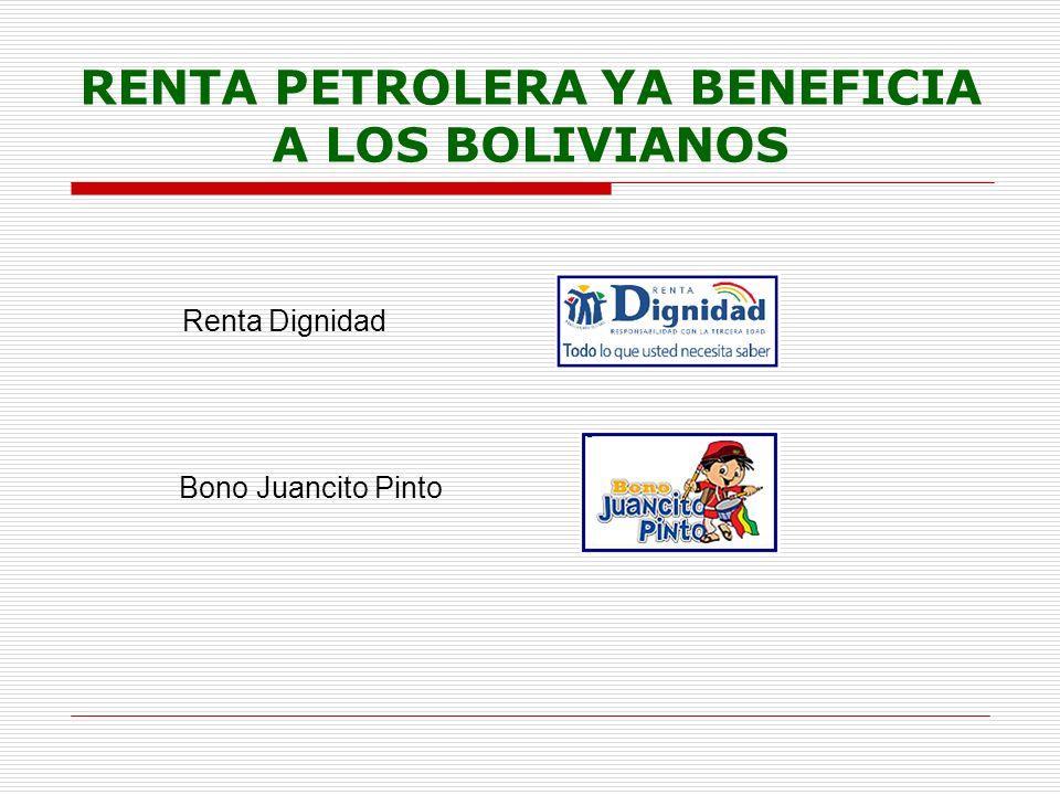 RENTA PETROLERA YA BENEFICIA A LOS BOLIVIANOS