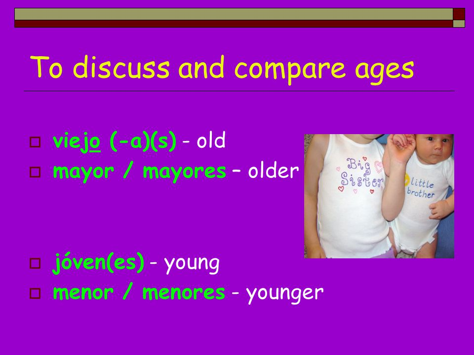To discuss and compare ages