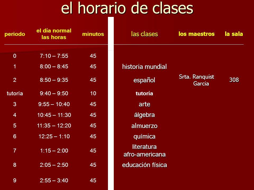 el horario de clases las clases historia mundial español arte álgebra