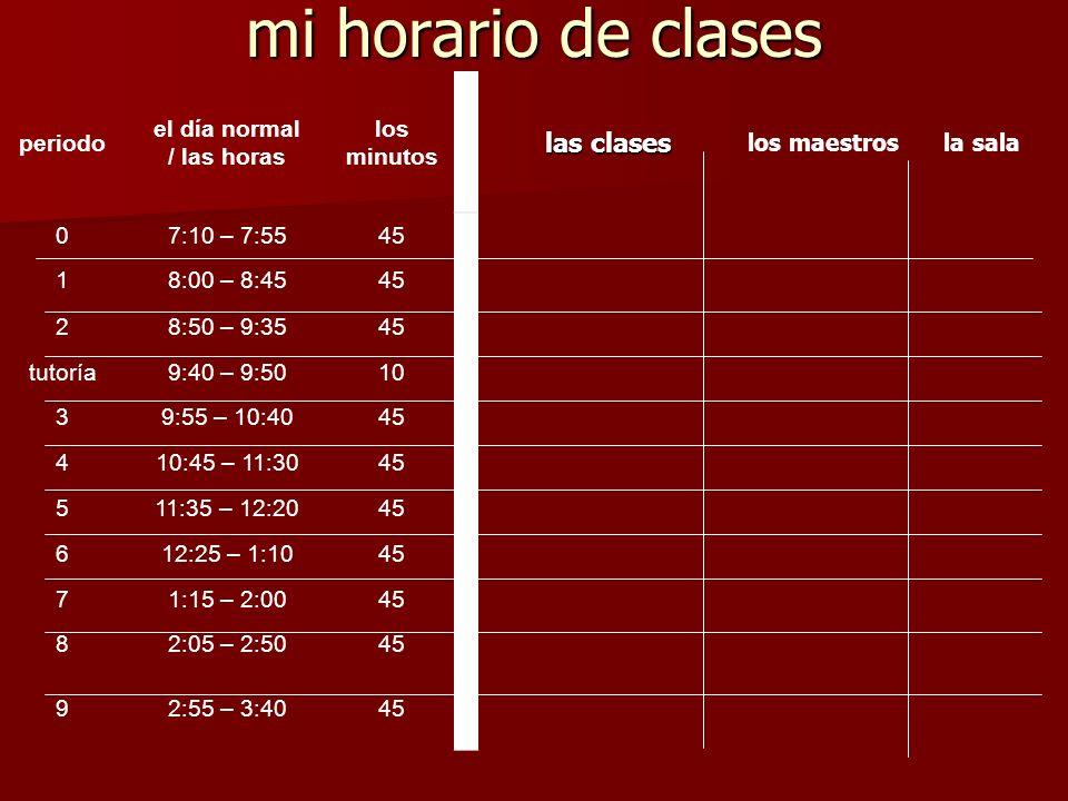 mi horario de clases las clases periodo el día normal / las horas los