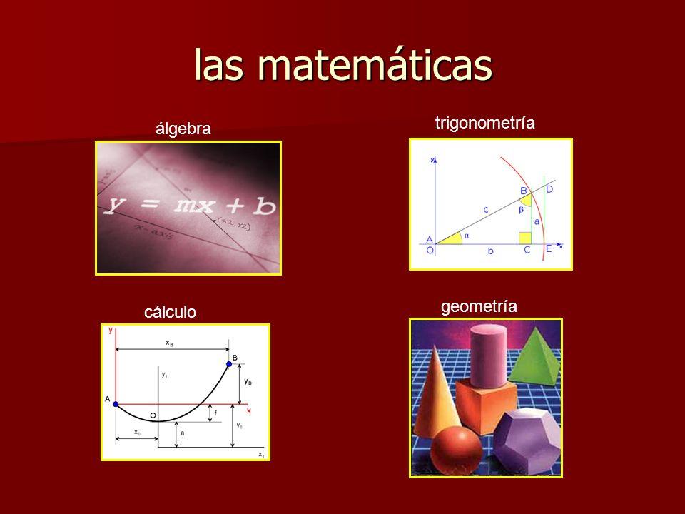las matemáticas trigonometría álgebra geometría cálculo